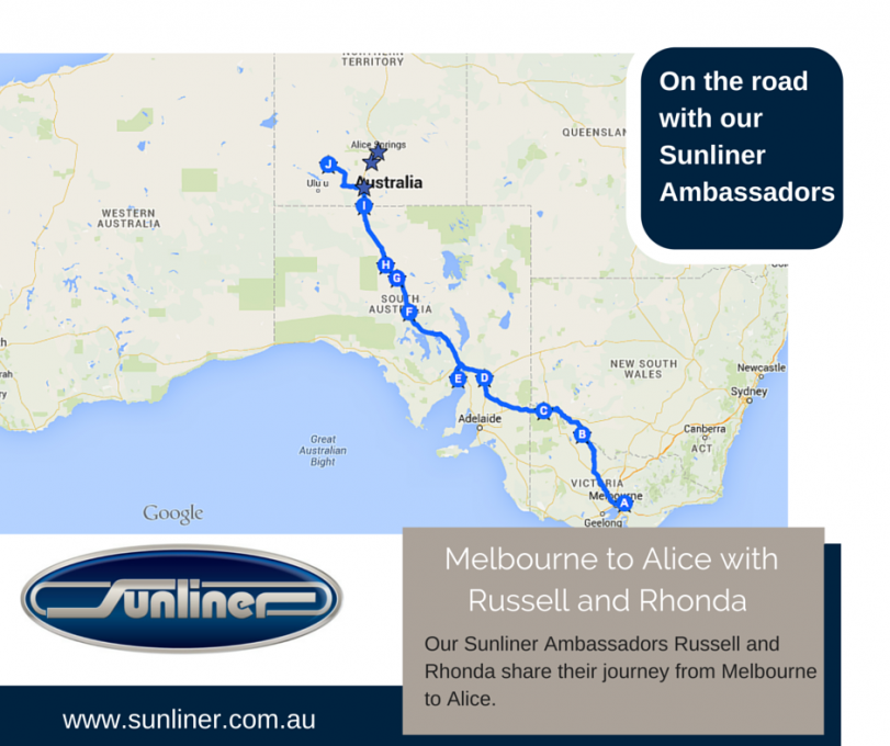 On the Road with Sunliner Ambassadors Rhonda and Russell  - Melbourne  to Alice